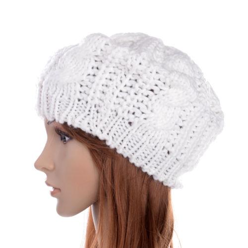 2017 NEW Lady's Warm Knit Braided Ski Cap Baggy Beanie Crochet Hat - White hot winter beanie knit crochet ski hat plicate baggy oversized slouch unisex cap