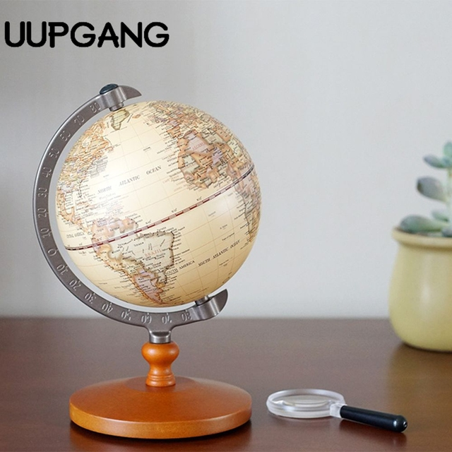 21cm English Edition Wooden World Globe Model Desktop Decor Vintage Globe  Geography Terrestrial Globe Figurines Home