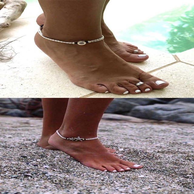 Boho Starfish Anklet Vintage Ankle Bracelet For Women Buddha Foot Jewelry Summer Barefoot Beach 2