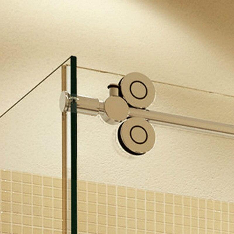 5ft/6.6ft Rectangle 90 degre contournement sans cadre porte de douche coulissante en verre double rouleau grange porte de douche panneau de retour kit de matériel
