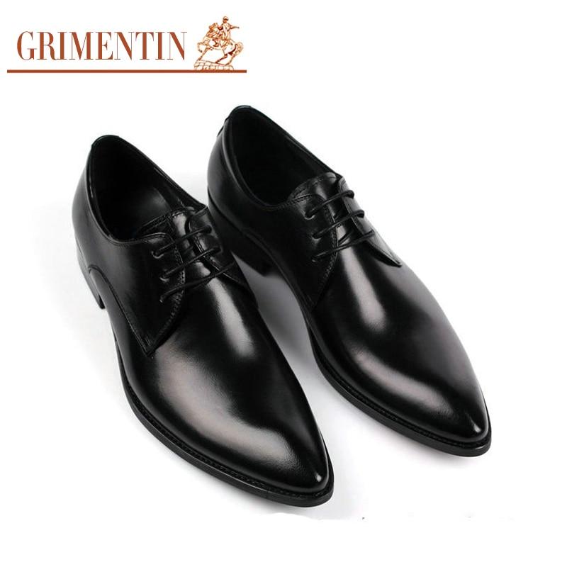1f8ca1715 Grimentin moda italiana hombres de negocios zapatos de cuero ocasionales  2016 de lujo negro marrón Hombre Zapatos de boda Oficina en Calzado vestir  de ...
