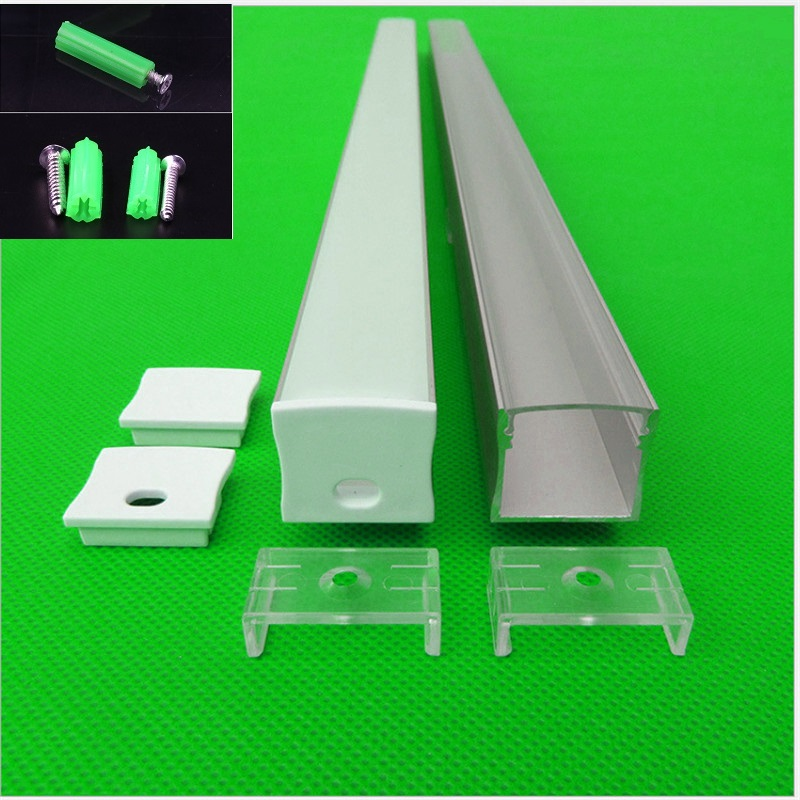 5-30pcs/lot 40inch 1m W23.5*H20.5MM flat aluminum profile for double row led strip,milky/transparent cover channel for 20mm pcb free shipping hot selling 1m pcs led aluminum profile for led strips with milky or clear cover and end caps clips