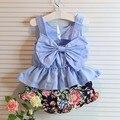 2016 do bebê verão conjunto de roupas de bebê menino e menina de algodão marca big bow sfashion terno crianças definir T shorts + frete grátis