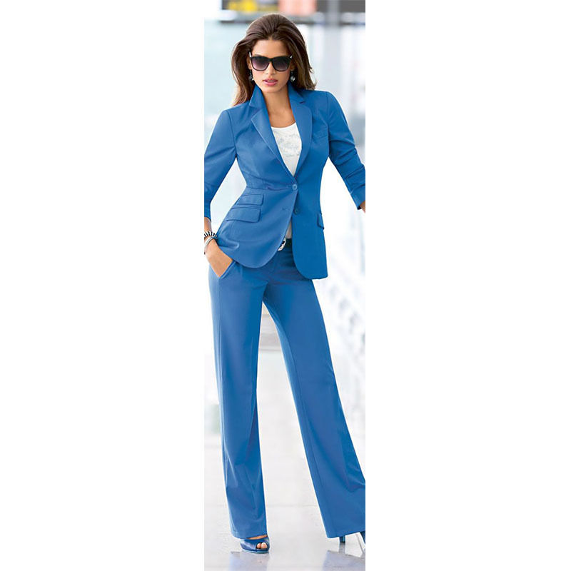 Blue Women Business Suits Formal Office Suit Work One Button Female Trouser Suit Custom made Bespoke suits A015