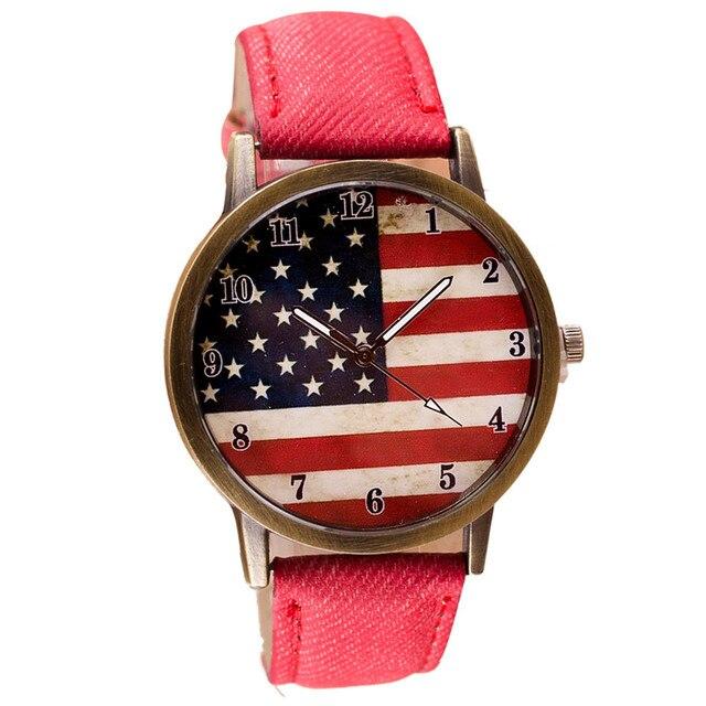 Women Watches Ladies 2017 Clock American Flag pattern Leather Band Quartz Wrist Watch Montre Femme Relogio Feminino Luxury Saat
