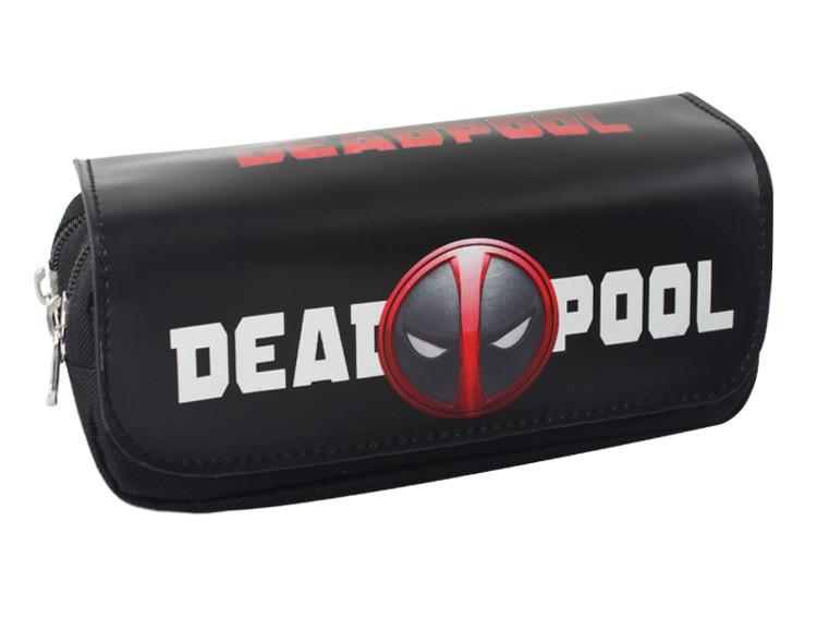 Deadpool Bag Anime Iron Man Deadpool Superman Captain America Batman Zipper Pencil Purse Stationery Supply Leather Cosmetic Bags
