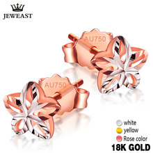 18k Gold Stud Earrings Female Genuine Delicate Flower Pure Wedding Earring Hollow Design Fine Jewelry For Women Fashion Ear New(China)