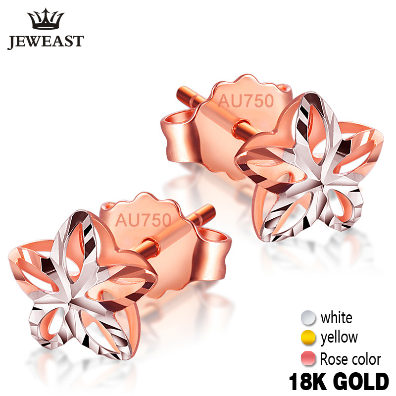 18k Gold Stud Earrings Female Genuine Delicate Flower Pure Wedding Earring Hollow Design Fine Jewelry For Women Fashion Ear New