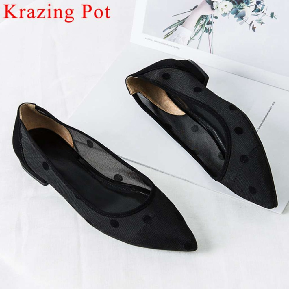 2019 sweet princess style polka dot pointed toe low heels slip on mesh sun protection pumps genuine leather driving shoes L07