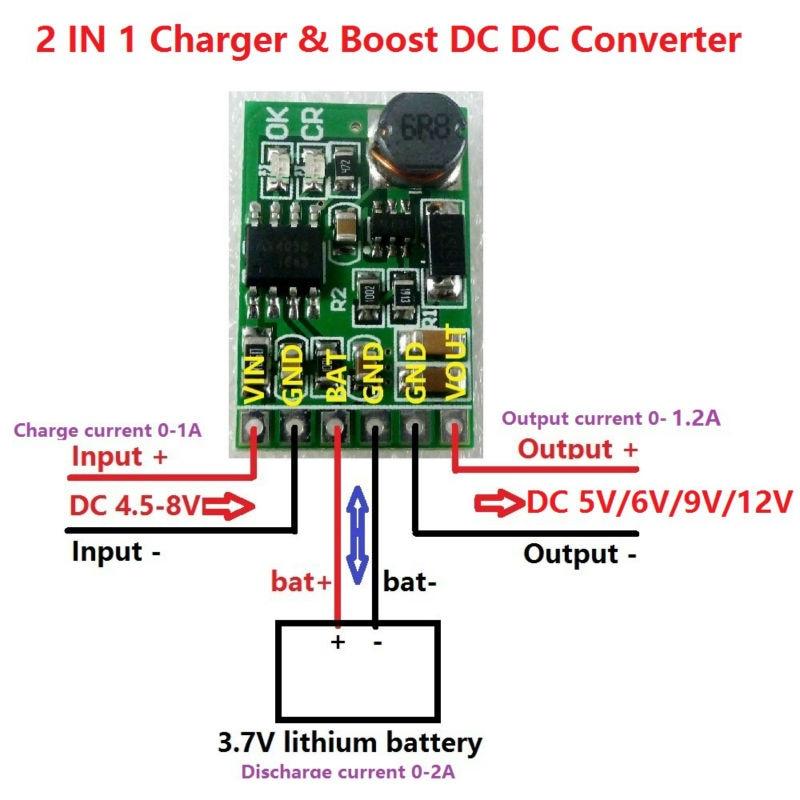 3 7V 4 2V Charger & 5V 6V 9V 12V Discharger Board DC DC Converter Boost  Module for diy UPS mobile power 18650 lithium battery
