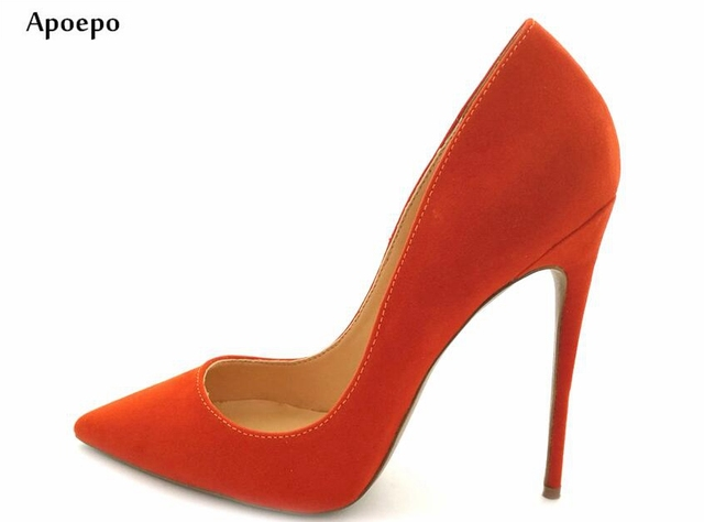 New Fashion Pointed Toe Pumps For Woman Orange Suede Slip On Office Lady High