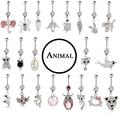 15 pçs/lote Mista Animal Design Gem 316L Aço Umbigo Body piercing Jóias Dangle Barriga Piercing no Umbigo Anéis