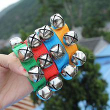1pcs Metal Jingle Bells Bracelet Wrist Tambourine Nylon Fastener Tape Percussion Musical Toy Party Kids Games Instruments Part