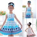 2014 Kids Girls Dress Cute Peacock Color Sleeveless Princess Dress Circle Korean Fashion Children's New Clothes