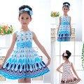 2014 crianças Girls Dress bonito do pavão cor mangas princesa círculo vestido coreano moda infantil New roupas
