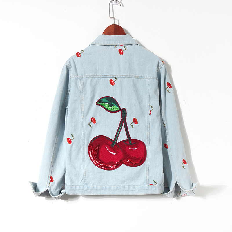 New Spring Autumn All-match Women's Outwear Sequins Cherry Embroidery Loose Denim Jackets for Students Jean Coats image