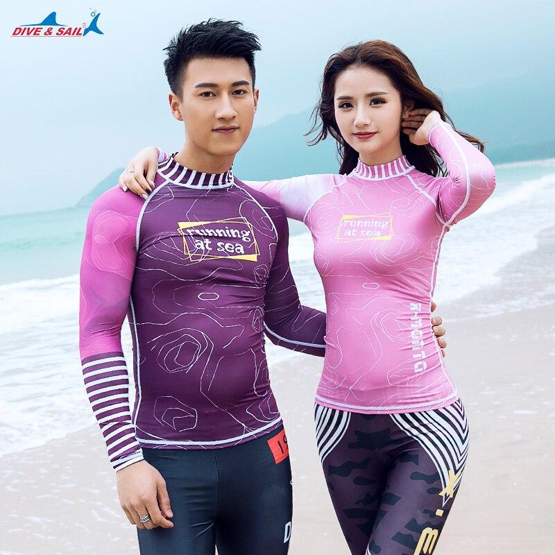 Men Rash Guard Long Sleeve Sun Shirt Surfing UV Protection Sunscreen Beach Wear