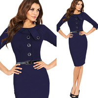 Spring Women Solid Color Button Decoration Middle Pencil Dress Half Sleeve Office Ladies Tailored Working Dresses