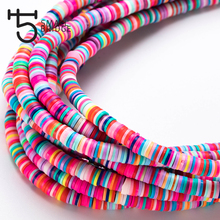 6mm Round Slices Fimo Clay Beads for Bracelet Jewelry Diy Accessories Perles Colorful Polymer Spacer Beads Wholesale C802 borosa 10pcs rainbow handmade bracelets polymer clay beads fimo slices plastic thin disc elastic string bracelet jewelry hd0090