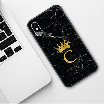 Custom name Letter Monogram Black Marble Gold Crown Soft Phone Case For iphone 3