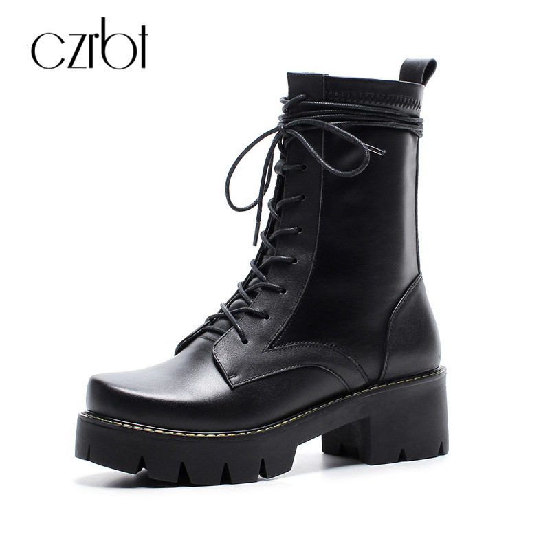 CZRBT High Quality Lace-Up Motorcycle Boots Women Genuine Soft Cow Leather Black Boots Woman Wedges Heel Mid-Calf Platform Boots czrbt geniune cow patent leather front zipper women high heels 8cm boots ladies brand style mid calf shoes women 100% handmade