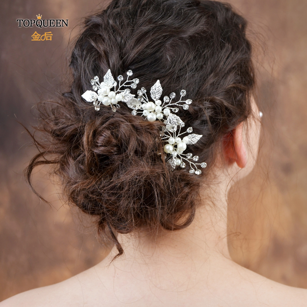 TOPQUEEN HP133 Wedding Hair Clip Handmade Pearls Rhinestones Gold Flower Leaf High Quality Bridal Headpiece Hair Accessories