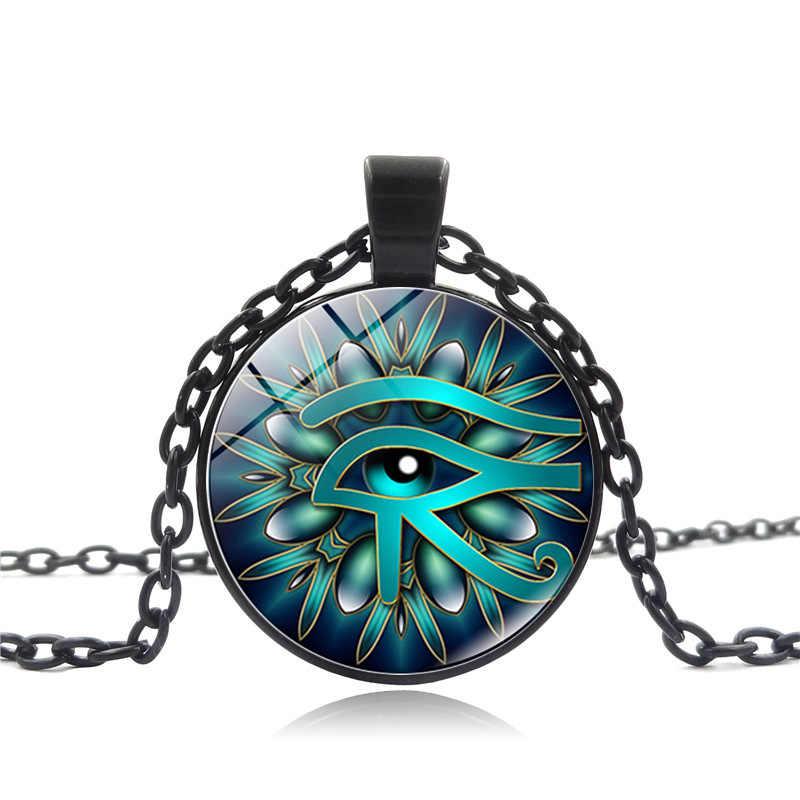 2018 nowy kobiety biżuteria Retro egipski oko horusa sweter wisiorek naszyjnik okrągły szkło biżuteria ze stopu dla kobiet prezent dla mężczyzny