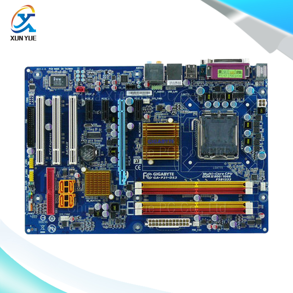 ФОТО Gigabyte GA-P31-DS3 Original Used Desktop Motherboard P31-DS3  P31 LGA 775  DDR2 SATA2 ATX