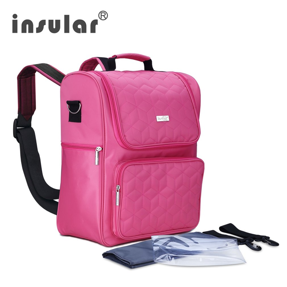 все цены на INSULAR Diaper Bag Multifunctional Large-Capacity Leisure Outdoor Mother Backpack With Computer Sack Cosmetic Nappy Bag Portable онлайн