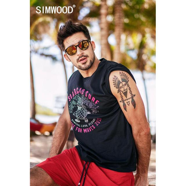 SIMWOOD 2019 summer new pineapple letter print t shirt men holiday style fashion 100% cotton t-shirt breathable top tees  190326