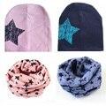 Bebé de la manera sombrero estrellas otoño primavera kids cap bufanda de algodón niña niños bufandas gorro de algodón sombrero chapeau des enfants