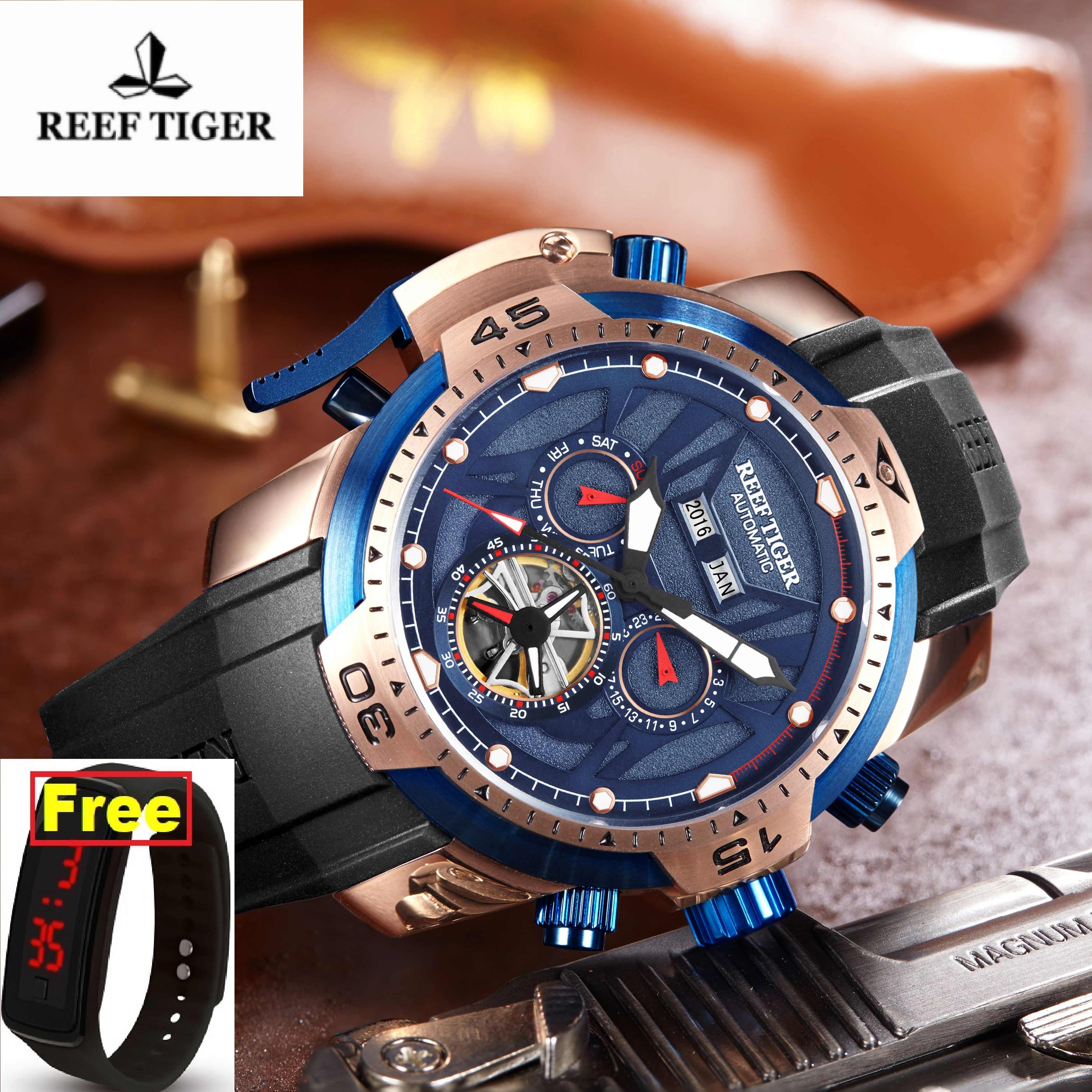 Reef Tiger/RT Sport Watch Men Big Rose Gold Transformer Edition 2019 Waterproof Military Watches Mechanical Wrist Watch RGA3532