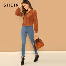 SHEIN Casual Brown Lantern Sleeve Button Up Corduroy Single Breasted Collar Jacket Autumn Modern Lady Women Coat Outerwear