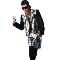 Custom Made Stage Costumes Male Hip Hop Fake Fur Sleeve Splice Leather Jacket Men Women Coat
