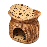 Natural Wicker Cat Bed Basket 2 Tiers Pet Kitten House Rest Space with Sleeping Cushion Pad Playing Training Cat Supplies