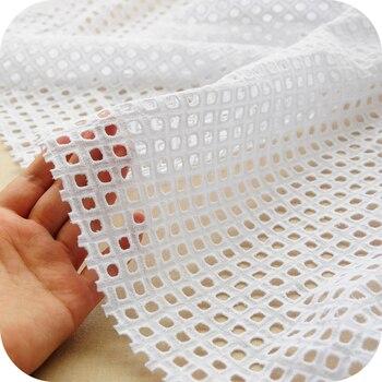 Tela escocesa de puro algodón bordado hueco, encaje de algodón, bordado pastoral DIY falda hecha a mano recomendada