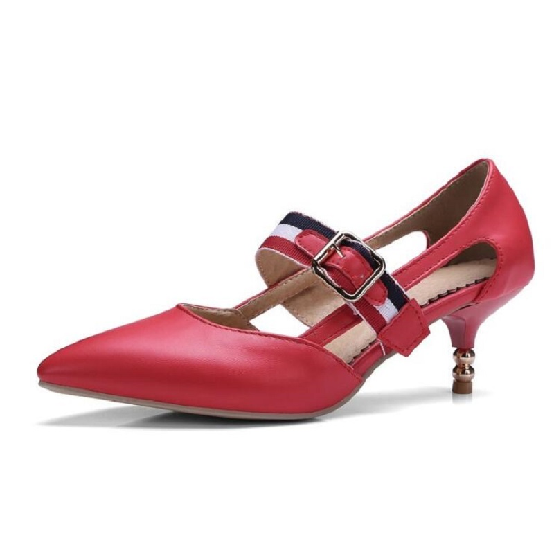 Sandals Female Fashion 2017 Spring And Summer Pointed Toe Thin Heels Women Pumps Elastic Buckle Hollow Women's Wedding Shoes 8cm 2015 spring and autumn single shoes cutout hasp pointed toe high heels ol thin female fashion sandals