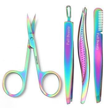 1pcs Rainbow Eyebrow Tweezers Eyelash Extension Flat Tip Face Hair Dead Skin Removal Clip Trimmer Scissor Makeup Tool JIFBM1-5