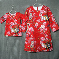 Brand red floral print pleat / straight mother and daughter dresses women sundress family match clothes mother and girls skirts