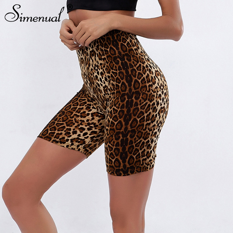 Simenual High Waist Casual Biker Shorts Summer 2019 Women Short Pants Leopard Fitness Cycling Shorts Sexy Skinny Printed Femme