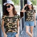 Harajuku 2016 nuevo camuflaje del ejército de Algodón Sudor Ventilación crop tops mujeres de la camiseta blusa totoro unicornio kawaii