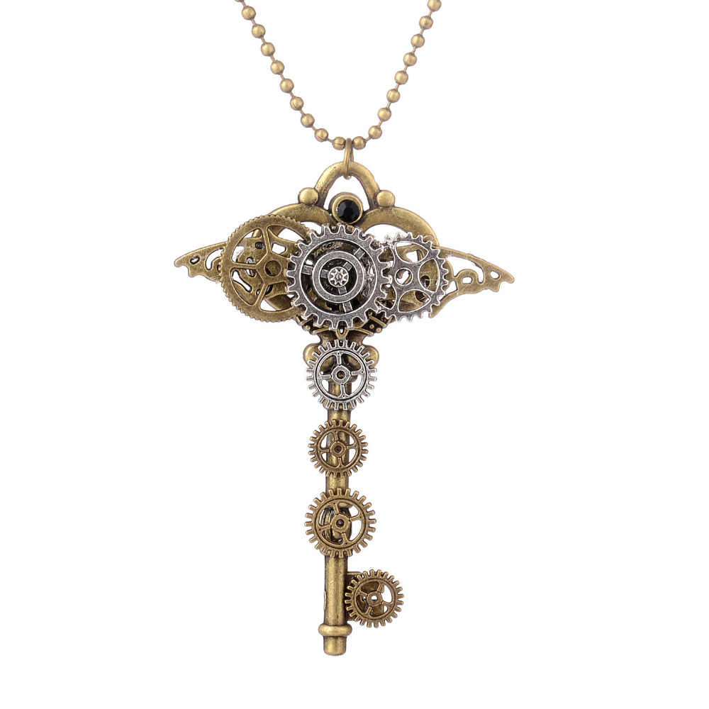 DoreenBeads Fashion Steampunk Necklace Bronze Beads Chain Gear Bronze Gear Key Pendant Trendy Punk Series Jewelry,1 Piece