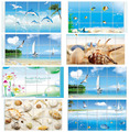 Waterproof bathroom tile aluminum foil wall sticker home decor wall sticker dolphin fish beach ocean shell sailing drinks flower
