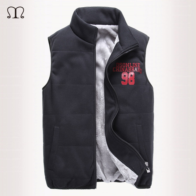 New Mens Jacket Sleeveless Homme Fashion Casual Male Cotton-Padded Vest Waistcoat With Velvet Vests For Winter Chaleco Hombre