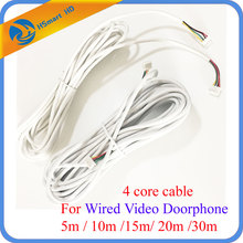 4 core cable 5m / 10m /15m/ 20m /30m For Video Doorphone Doorbell system CCTV Accessories