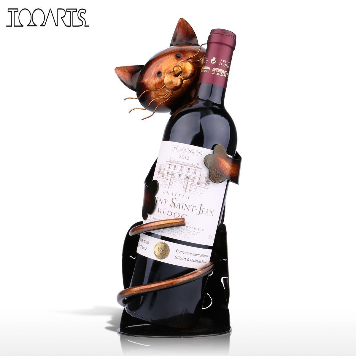 TOOARTS Gatto di Vino Supporto del Vino Vino Rack Scaffale di Metallo Scultura Pratico Scultura basamento del Vino Della Decorazione Della Casa Interni Artigianato