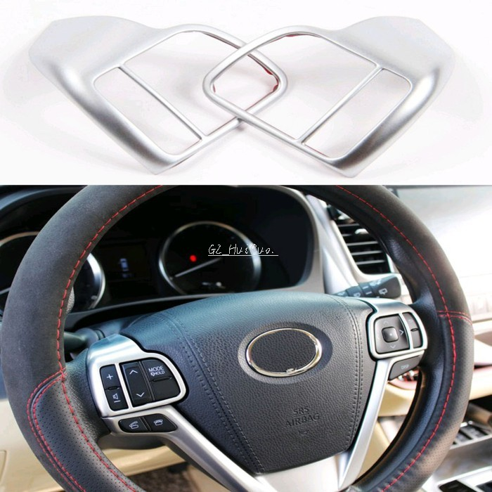 2PCS ABS Steering Wheel Button Cover Trims For Toyota Highlander 2015 Car Styling Auto Accessories Interior Decoration Sequins new product factory price high quality steering wheel audio control buttons for kia k2 rio steering wheel button