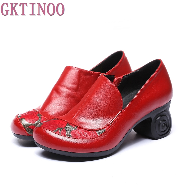 Ethnic Style Women's High Heels Pumps Round Toe Genuine Leather Thick High Heeled Shoes Women