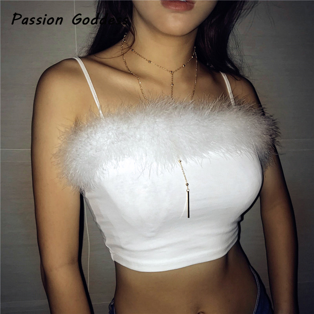 Sexy Women Pink Fur Camisole Sling Tops Sleeveless Strapless Cotton Camis White Black Fur Blusa Bustier Lingerie Bralette Camis