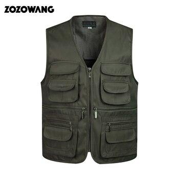 ZozoMan וסטים שרוולים פריקה אופנה חזייה עם רבים זכר מעיל כיסים צבאי מעיל Mens טקטי Vest חולצות